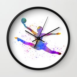 Young woman practices rhythmic gymnastics in watercolor 15 Wall Clock