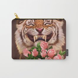 Smiling (shy) Tiger - holding bouquet (rose) Carry-All Pouch