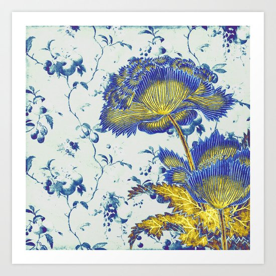 floral chinoiserie in blue and gold Art Print