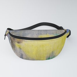 Rainy Day Grey, Rain, Water, Car, Abstract, Blue, Painting by Jodi Tomer Fanny Pack