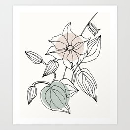 Floral Linework with Color Pop Art Print