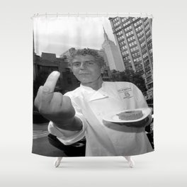 anthony bourdain middle finger Shower Curtain