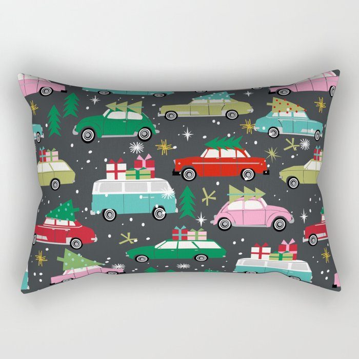 Christmas pattern print vintage cars holiday gifts presents christmas trees cute decor Rectangular Pillow