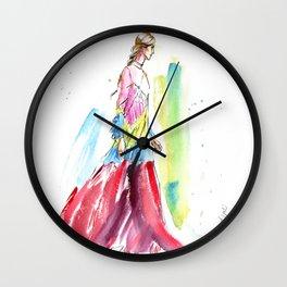 fashion #61: Woman in a long multicolor dress Wall Clock