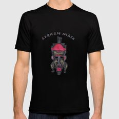 African Mask MEDIUM Mens Fitted Tee Black