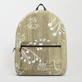 Holiday Flourishes in White on Digital Gold Foil Design Backpack