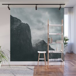 Norway Photography - Mountains Under Gray Clouds Wall Mural