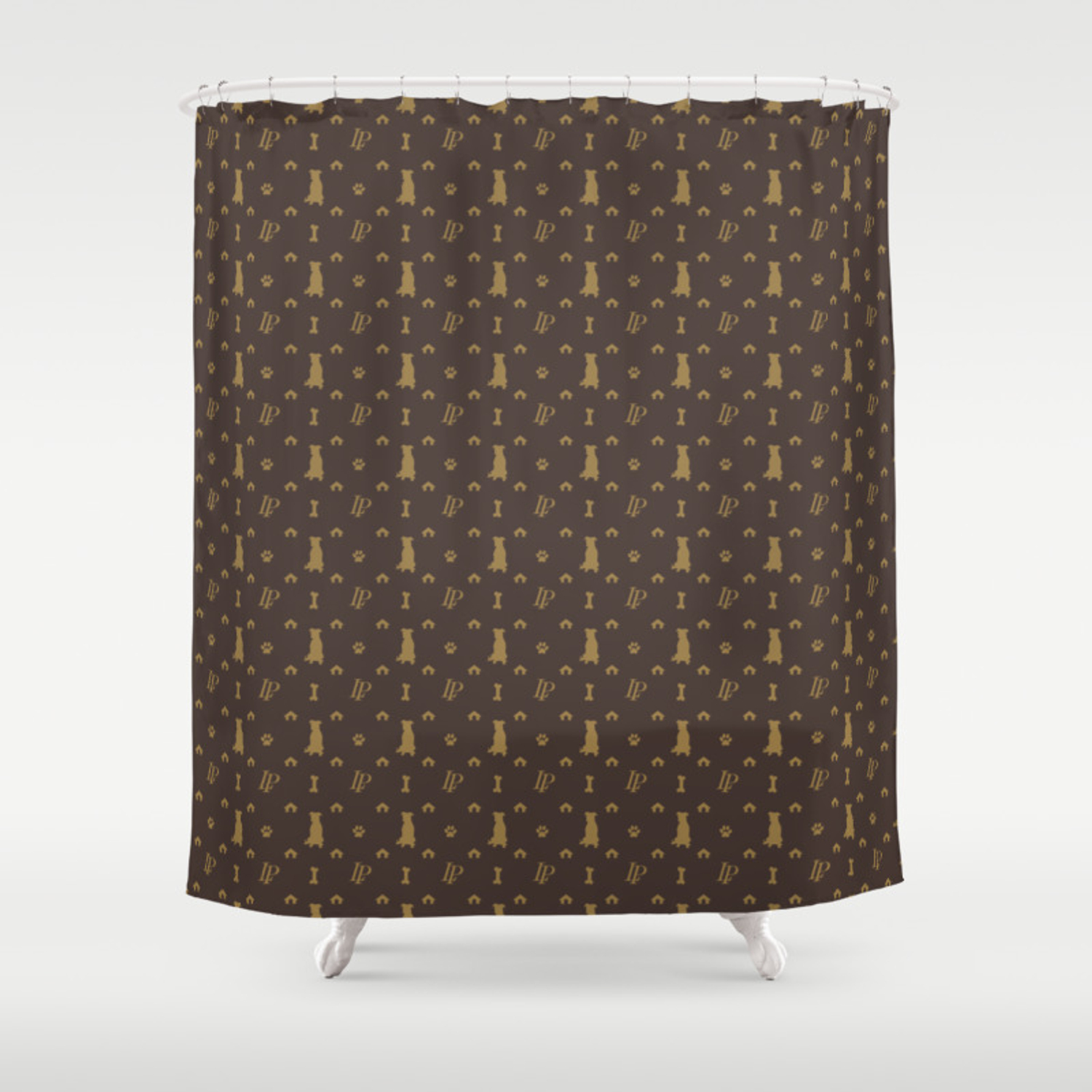 Louis Pitbull Luxury Dog Bling Pattern Shower Curtain