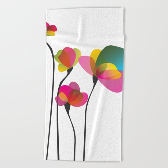 Abstract Flowers Beach Towel
