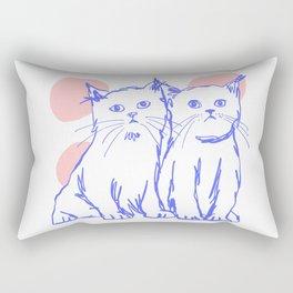Katzen 002 / Minimal Line Drawing Of Two Cats Rectangular Pillow