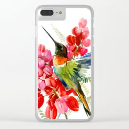 Collared Inca Hummingbird and Coral Pink Flowers Clear iPhone Case