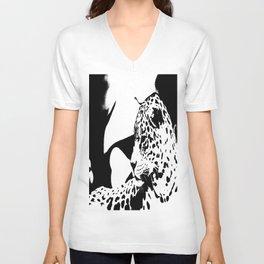 Black And White Wildcat #decor #society6 Unisex V-Neck