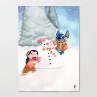 lilo and stitch Canvas Prints featuring Lilo and Stitch by Walko