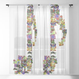 A Music Note Collaboration Of Art Collage Sheer Curtain