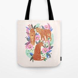 The Leopards, leopard print, animal print, flower print Tote Bag