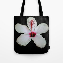 White Hibiscus Isolated on Black Background Tote Bag