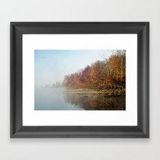 Early morning fog in October Framed Art Print