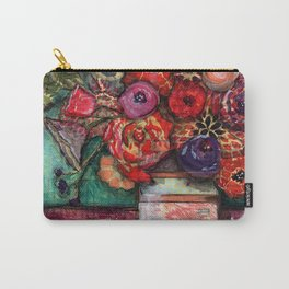 Bright Flowers with Vase Carry-All Pouch