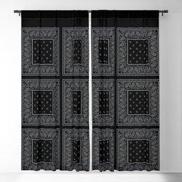 Black and Silver Bandana Blackout Curtain