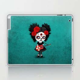 Day of the Dead Girl Playing Danish Flag Guitar Laptop & iPad Skin