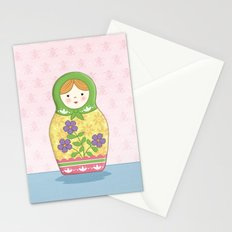 Matryoshka Doll (green & yellow) Stationery Cards
