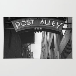Post Alley in Seattle Washington - Black and White Rug