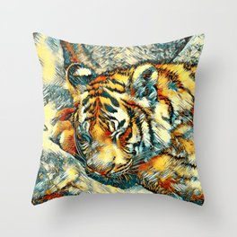 AnimalArt_Tiger_20170606_by_JAMColorsSpecial Throw Pillow