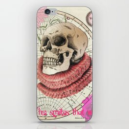 Skull print with Tudor Ruff and map illustration iPhone Skin