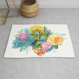 Colorful Watercolor Bouquet Rug