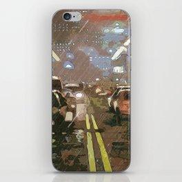 Rainy night between traffic iPhone Skin