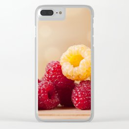 red and golden raspberry fruits Clear iPhone Case
