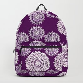 Deep Plum and Silver Patterned Mandalas Backpack