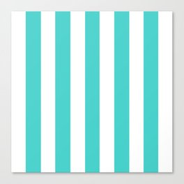 Medium turquoise - solid color - white vertical lines pattern Canvas Print