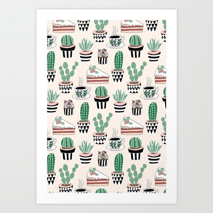 Cacti, Coffee and Cake Art Print