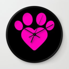 Cute Heart Paw Kawaii Print design Funny Love Gift Wall Clock