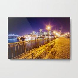Old Pier and San Francisco Skyline Metal Print