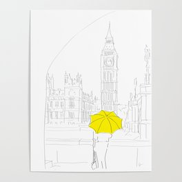 Yellow Umbrella Girl in London Poster