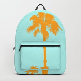 Orange palm trees silhouettes on blue Backpack