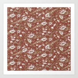 Seashells Sea Shells Underwater Pattern Paper Collage Earth Shades  Art Print