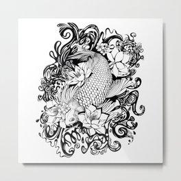 Black and White Carpa koi Metal Print