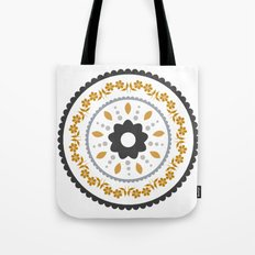 Floral suzani inspired golden centred Tote Bag