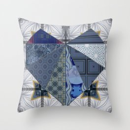 Blue & Gray Scrapbook Collage Quilted Heart (Tile #3) Throw Pillow