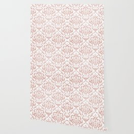 Rose Gold Glitter and White Damask Wallpaper
