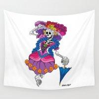 calavera Wall Tapestries featuring La Calavera Catrina by Antoons