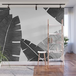 Banana Leaves BW Wall Mural