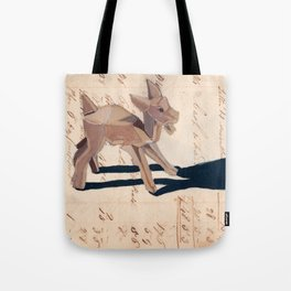 Vintage Wood Carved Goat in Gouache Tote Bag