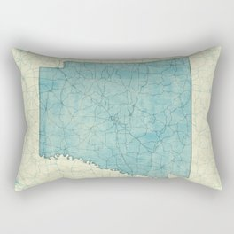 Arkansas State Map Blue Vintage Rectangular Pillow