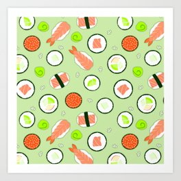 Cute Sushi Pattern Green  Art Print