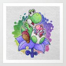 Yoshi and Baby Yoshi Art Print
