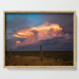 Dreamy - Storm Cloud Drenched in Sunlight at Dusk in Western Oklahoma Serving Tray